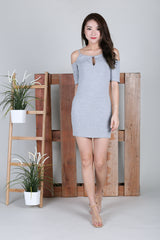KEYHOLE REVERSIBLE DRESS IN LIGHT GREY