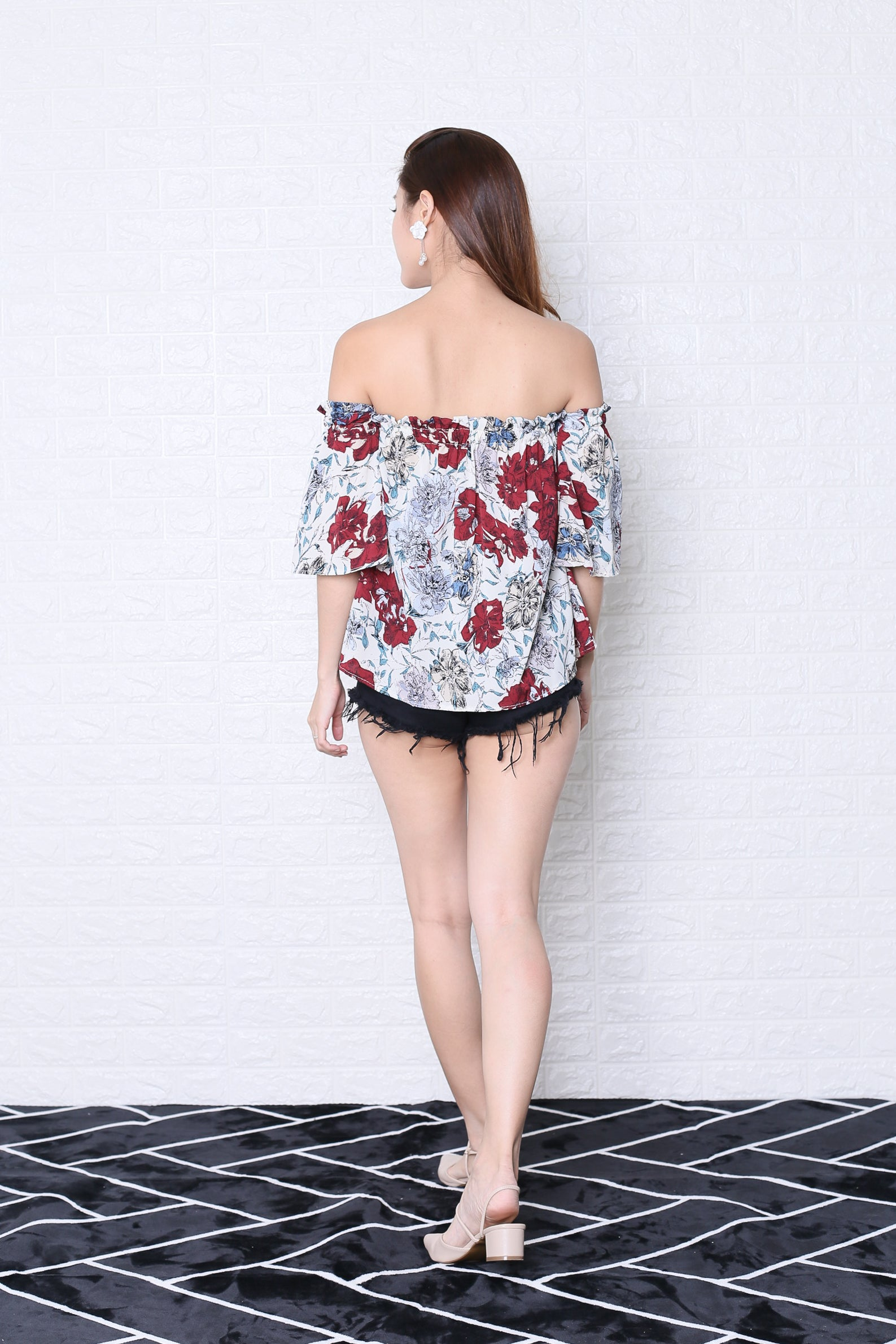 FLORIN ABSTRACT FLORAL TOP IN OFF WHITE
