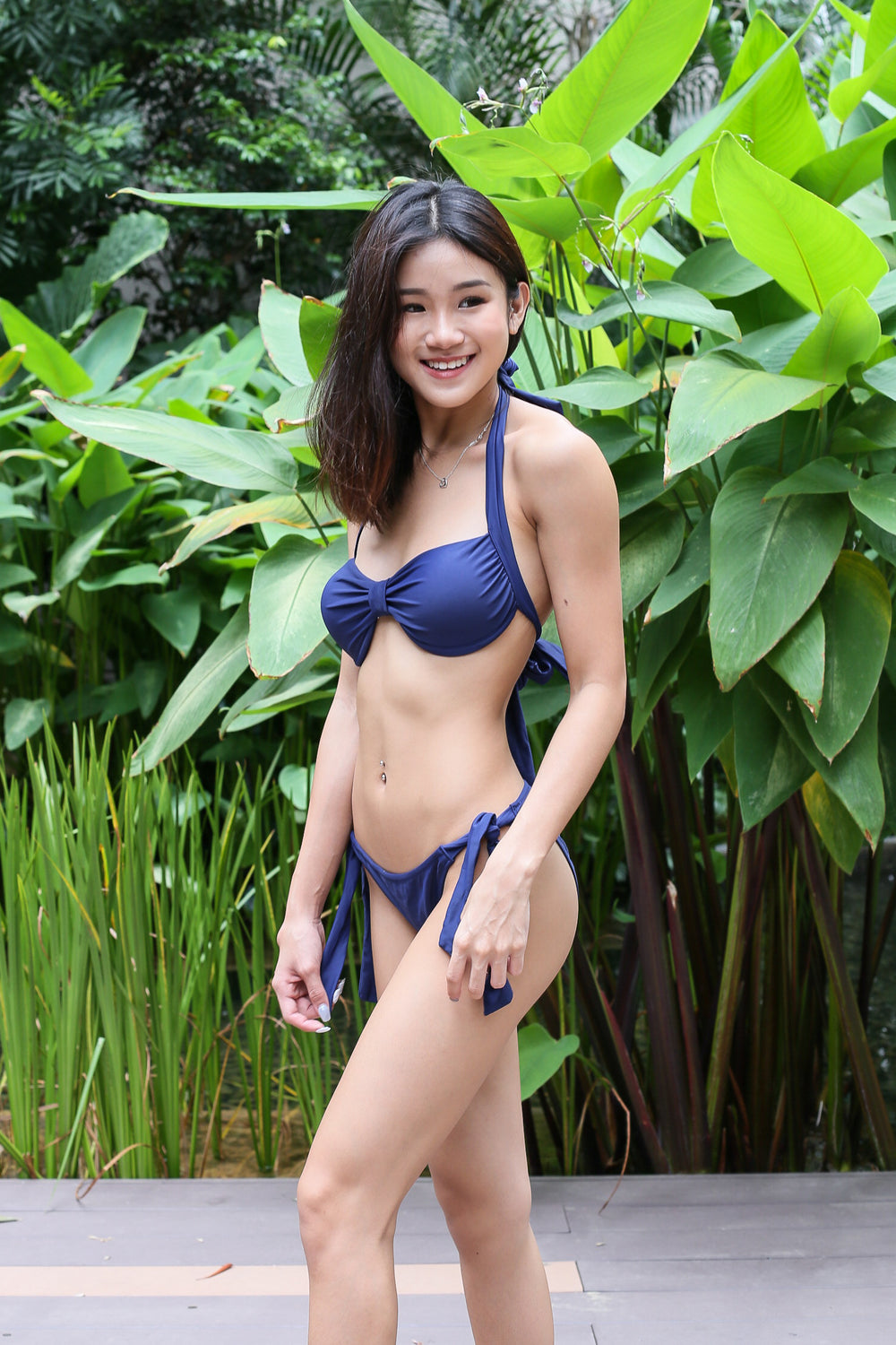 ARIEL BOW BIKINI SET (NAVY)