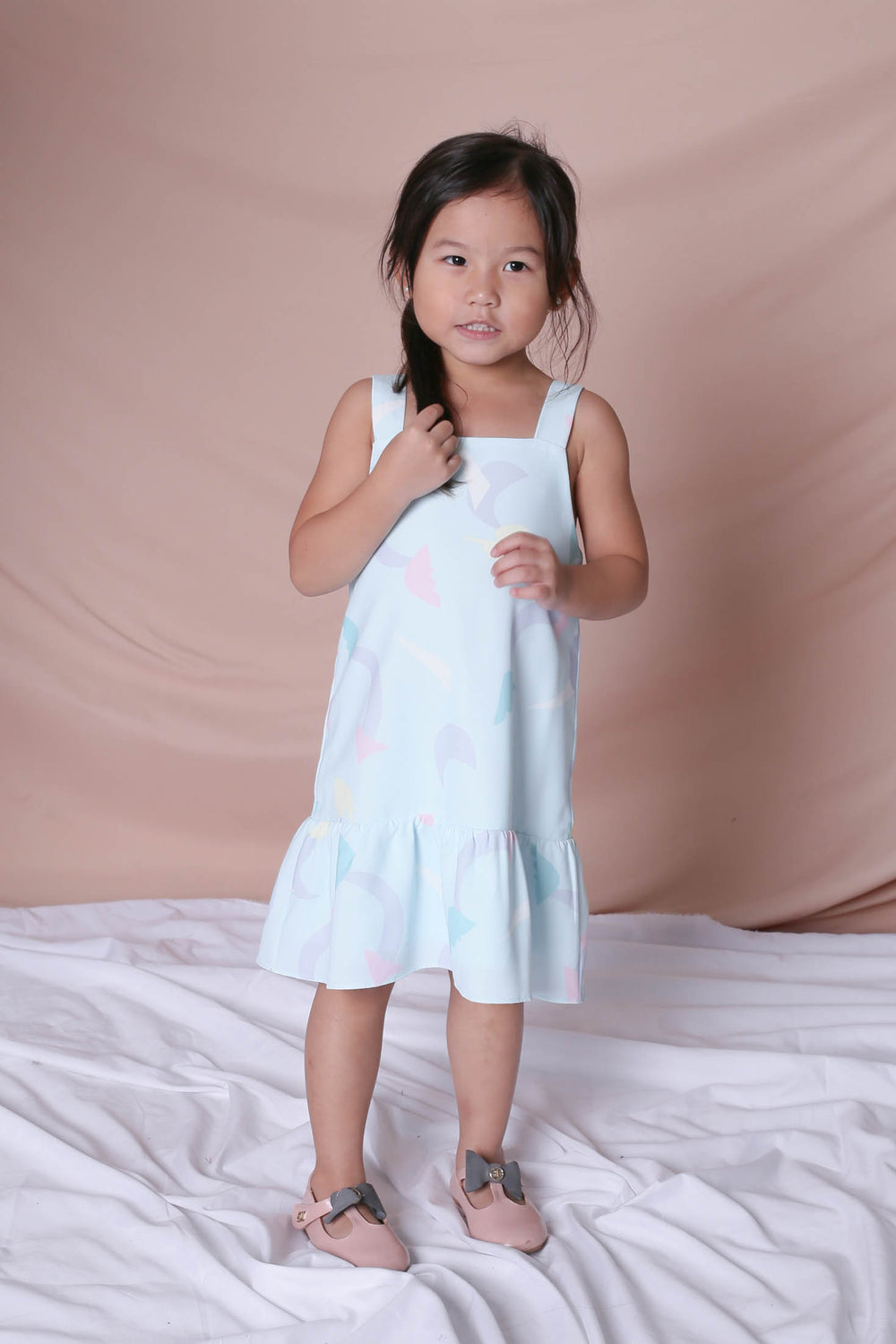 *LITTLE TOPAZETTE* PASTEL UNICORN RUFFLE 2 WAY DRESS IN MINT PASTEL