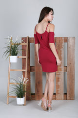 *BACKORDER* KEYHOLE REVERSIBLE DRESS IN WINE