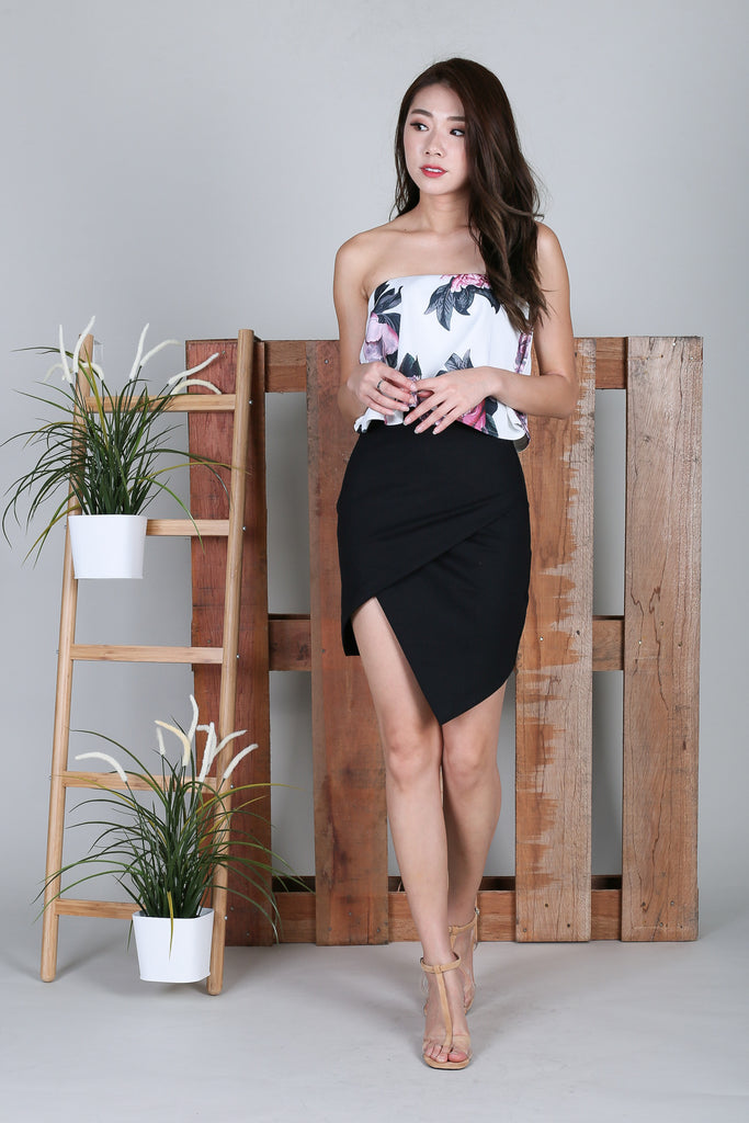 *RESTOCKED* CLASSIC BODYCON ASYMMETRICAL SKIRT IN BLACK - TOPAZETTE