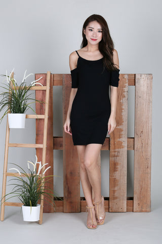 *BACKORDER* KEYHOLE REVERSIBLE DRESS IN BLACK