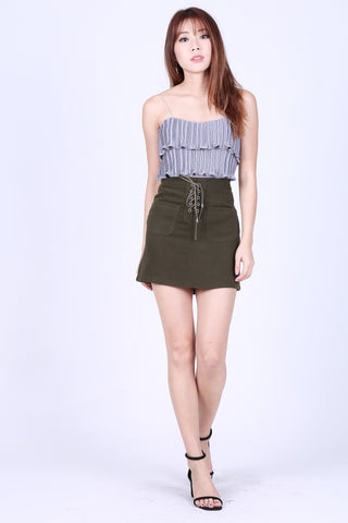 CLOVER SUEDE SKIRT IN OLIVE