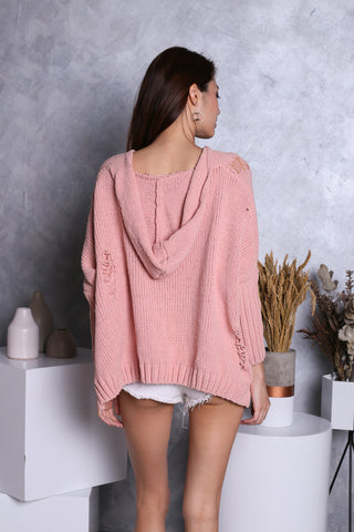 *PREMIUM* SNUGGLE UP SOFT KNIT HOODIE IN DUSTY PINK