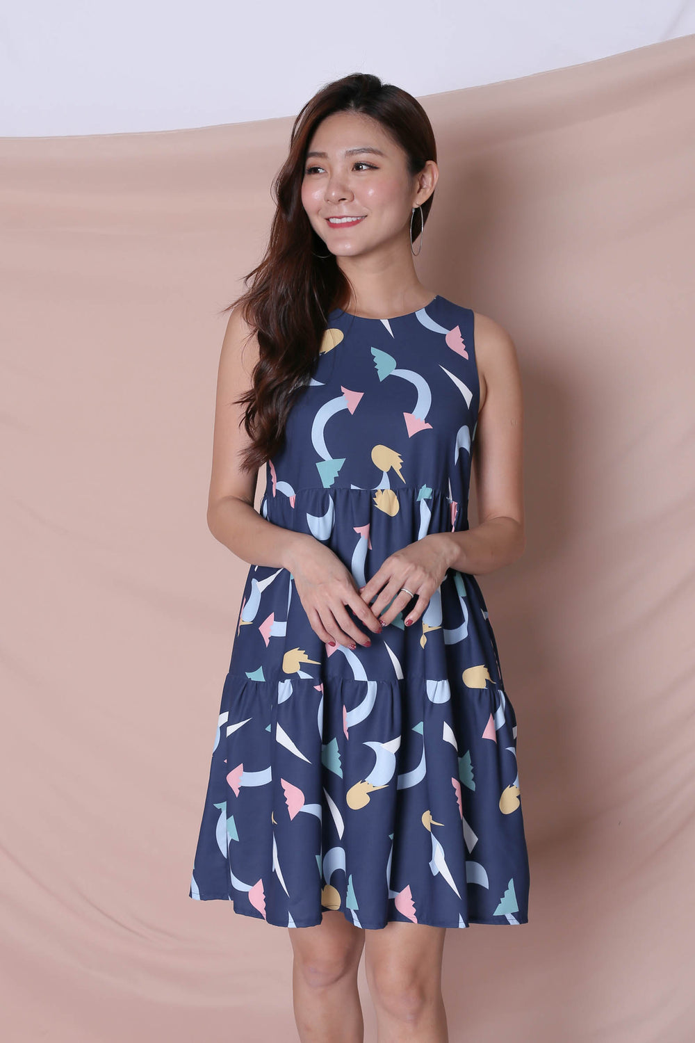 (PREMIUM) PASTEL UNICORN BABYDOLL TIERED DRESS IN NAVY