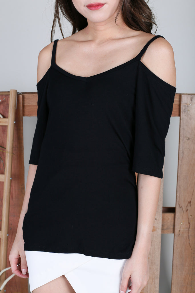 *BACKORDER* EVERY DAY COLD SHOULDER TOP IN BLACK