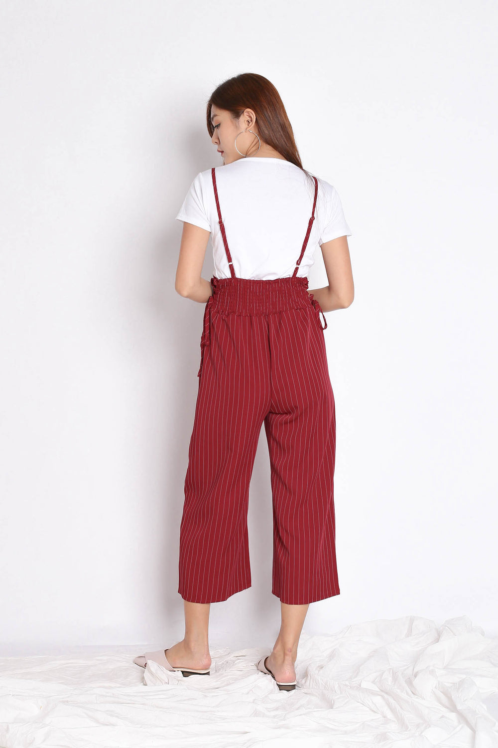 PINSTRIPES DUNGAREE SET IN WINE