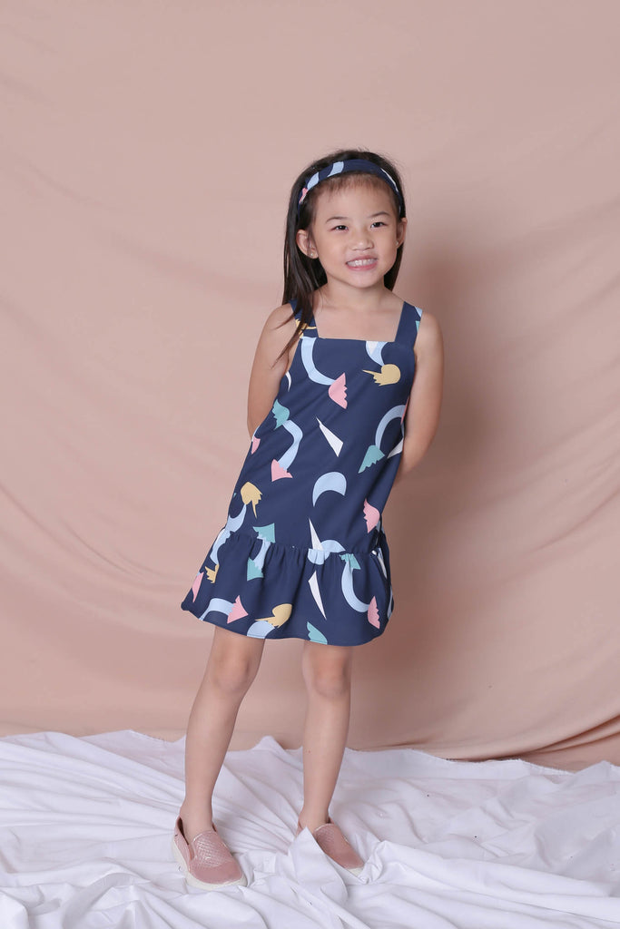 *LITTLE TOPAZETTE* PASTEL UNICORN RUFFLE 2 WAY DRESS IN NAVY - TOPAZETTE