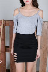 *RESTOCKED* EVERY DAY COLD SHOULDER TOP IN LIGHT GREY