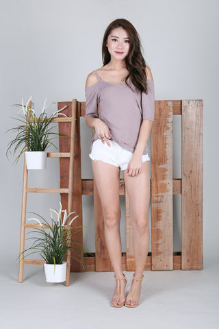 *BACKORDER* EVERY DAY COLD SHOULDER TOP IN TAUPE