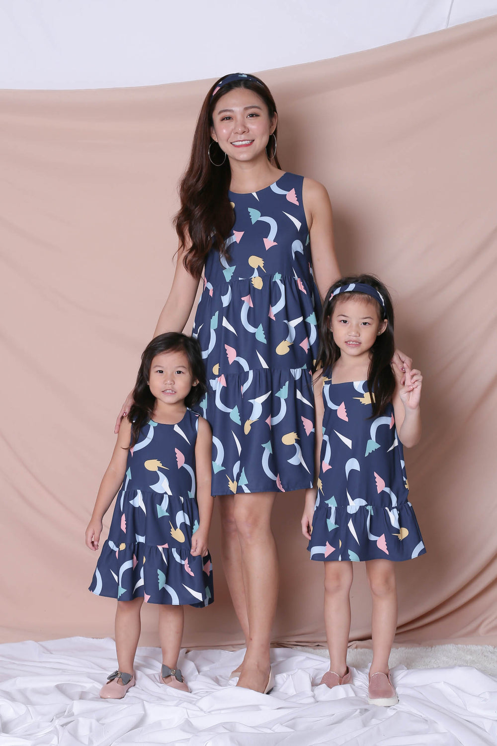 *LITTLE TOPAZETTE* PASTEL UNICORN RUFFLE 2 WAY DRESS IN NAVY