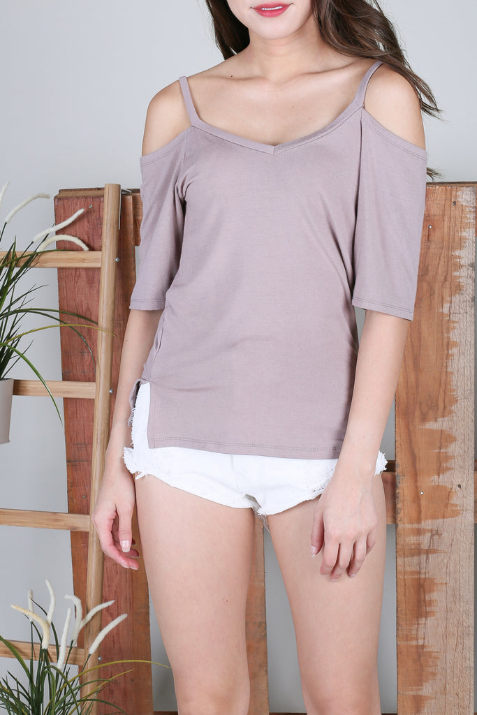*BACKORDER* EVERY DAY COLD SHOULDER TOP IN TAUPE - TOPAZETTE
