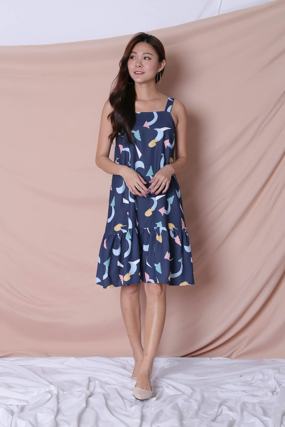 (PREMIUM) PASTEL UNICORN RUFFLE DRESS IN NAVY