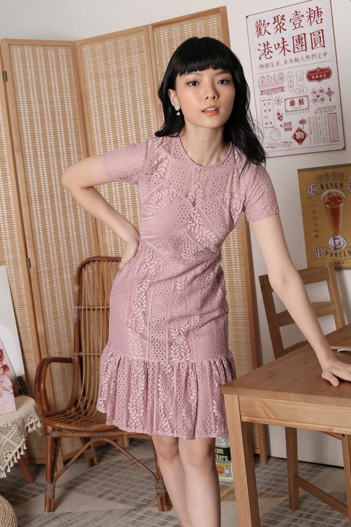 *TPZ* KEQI LACE DRESS IN BABY PINK