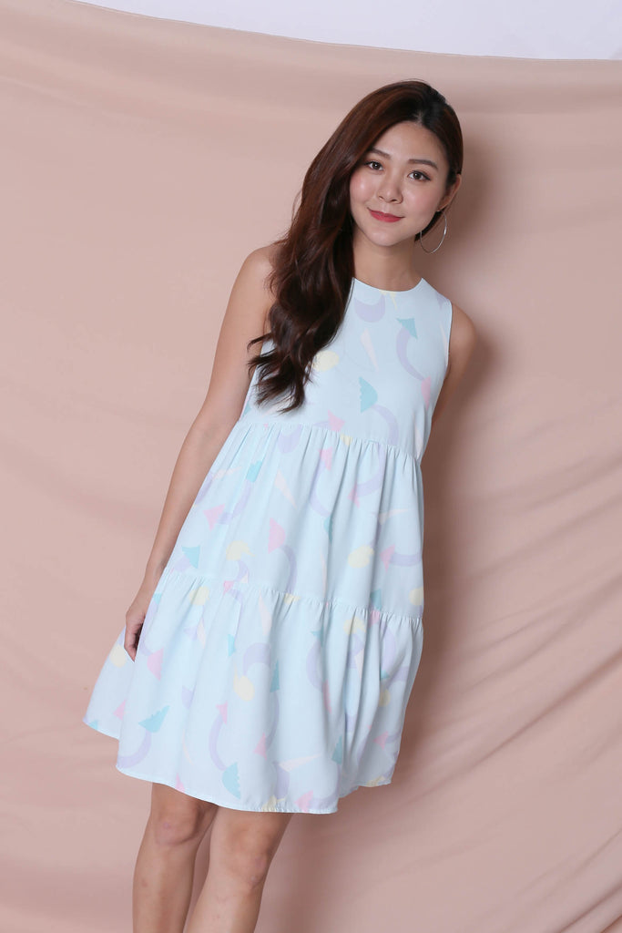 (PREMIUM) PASTEL UNICORN BABYDOLL TIERED DRESS IN MINT PASTEL