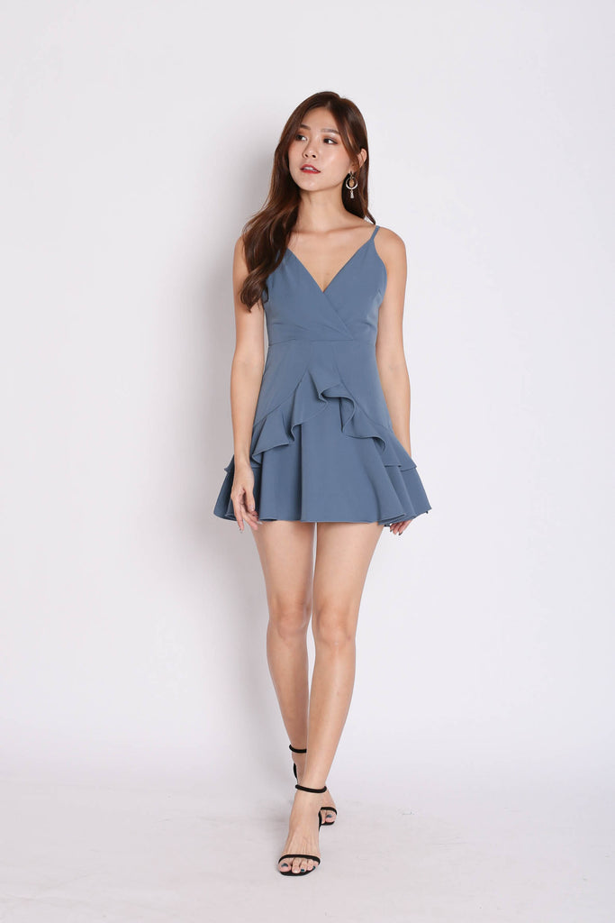 *TPZ* (PREMIUM) SAGE RUFFLES DRESS ROMPER IN STALE BLUE