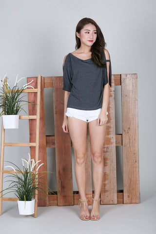 *BACKORDER* BRENNA SLOUCH TOP IN DARK GREY