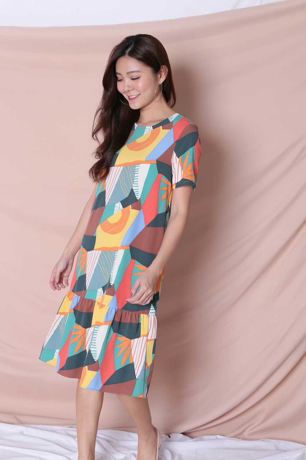 (PREMIUM) THE COLOURFUL ABSTRACT DROP WAIST DRESS (VERSION 2) GREEN/ BROWN