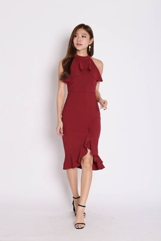 *TPZ* (PREMIUM) JOSEY HALTER RUFFLES MERMAID DRESS IN BURGUNDY