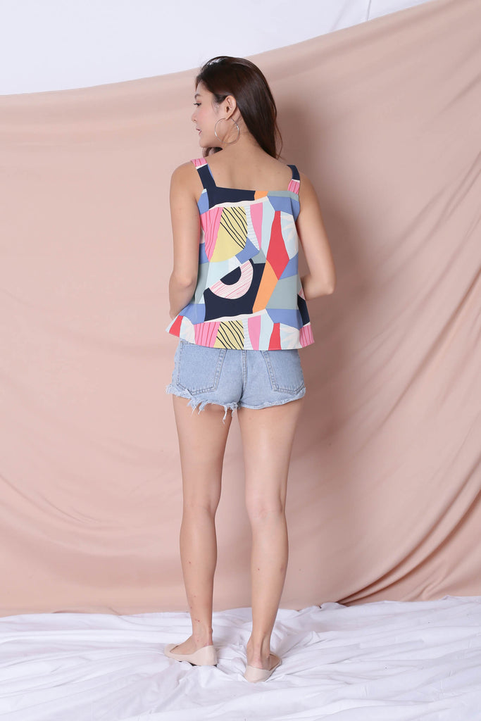 (PREMIUM) THE COLOURFUL ABSTRACT 2 WAY TOP (VERSION 1) BLUE/ PINK - TOPAZETTE