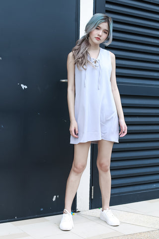 (RESTOCKED) ITS A TIE DRESS IN GREY - TOPAZETTE