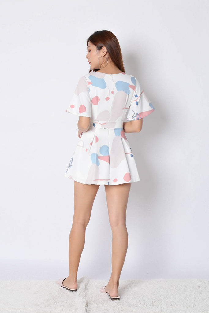 *TPZ* (PREMIUM) EMMER DRESS ROMPER IN WHITE ABSTRACT - TOPAZETTE