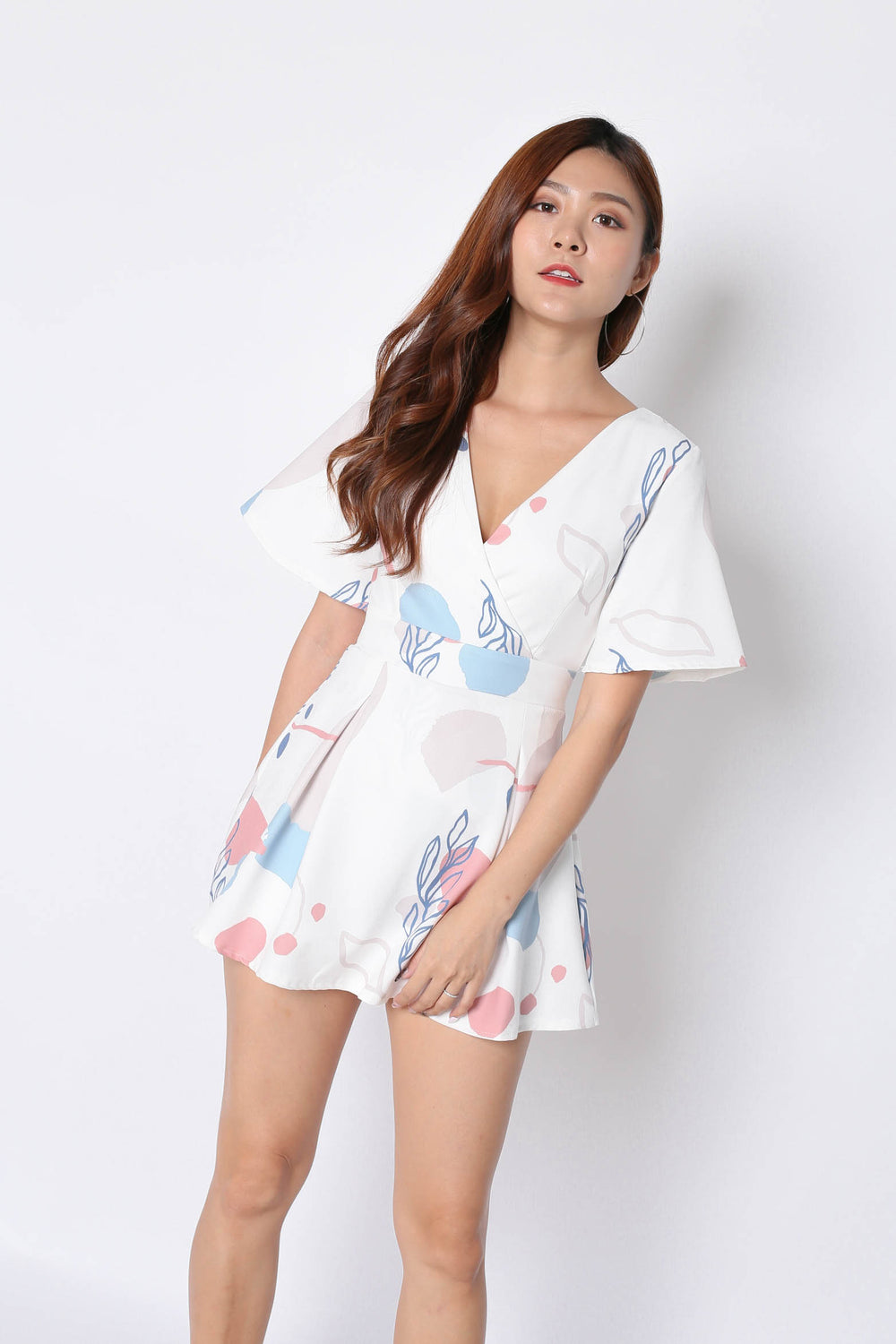 *TPZ* (PREMIUM) EMMER DRESS ROMPER IN WHITE ABSTRACT