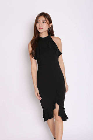 *TPZ* (PREMIUM) JOSEY HALTER RUFFLES MERMAID DRESS IN BLACK