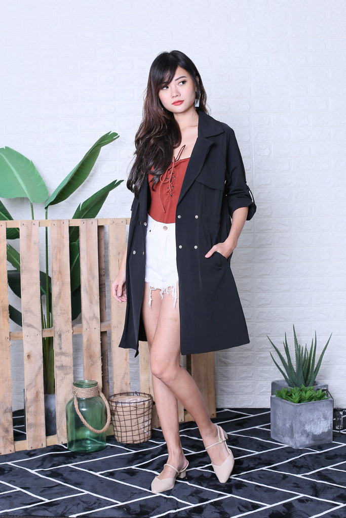 ZEPH TRENCH PARKA IN BLACK - TOPAZETTE