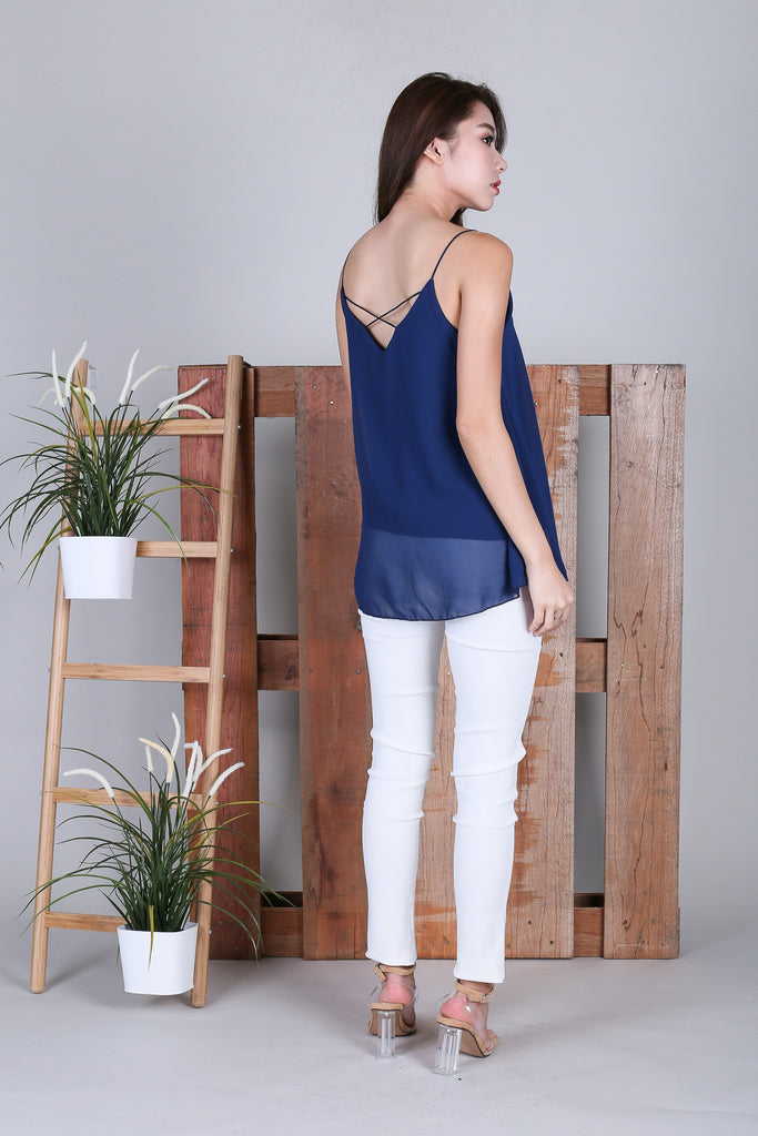 PAIGE CROSS BACK SPAG TOP IN NAVY