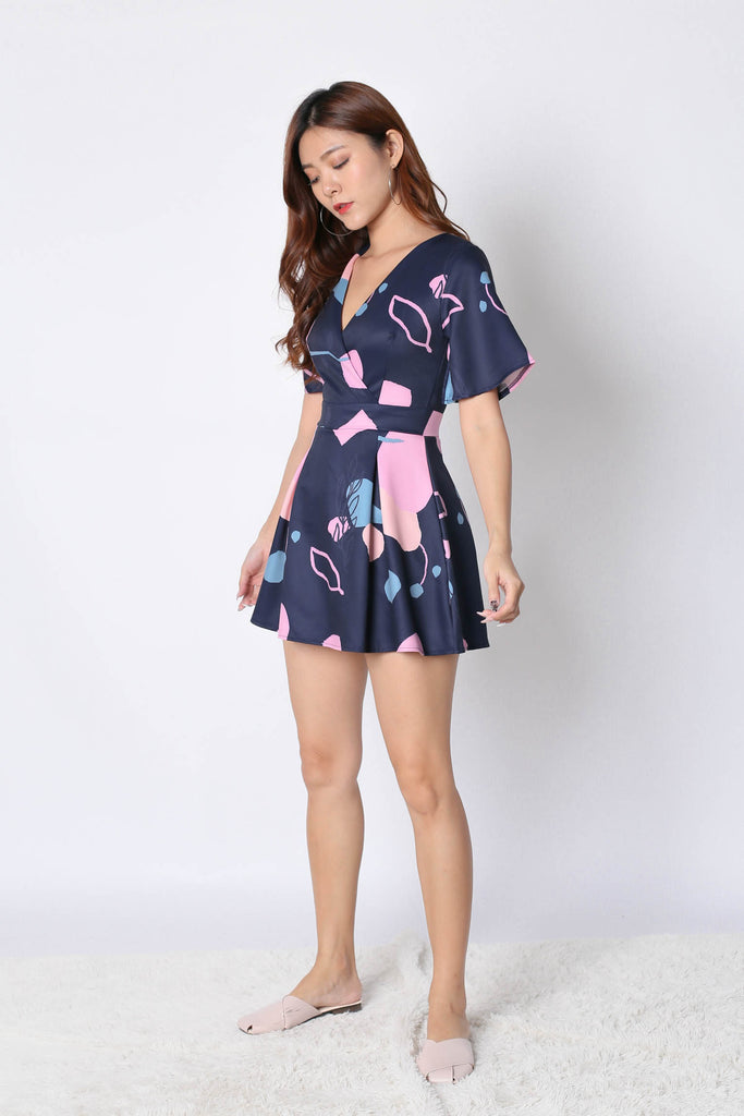 *TPZ* (PREMIUM) EMMER DRESS ROMPER IN NAVY ABSTRACT - TOPAZETTE