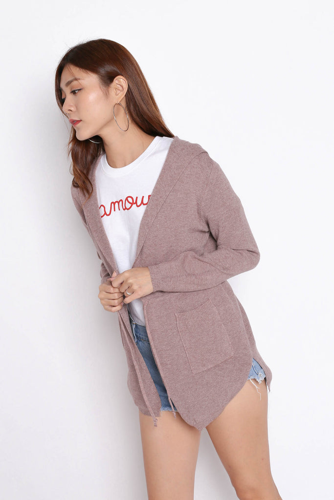 BRAE SOFT KNIT CARDIGAN IN WASHED TAUPE - TOPAZETTE