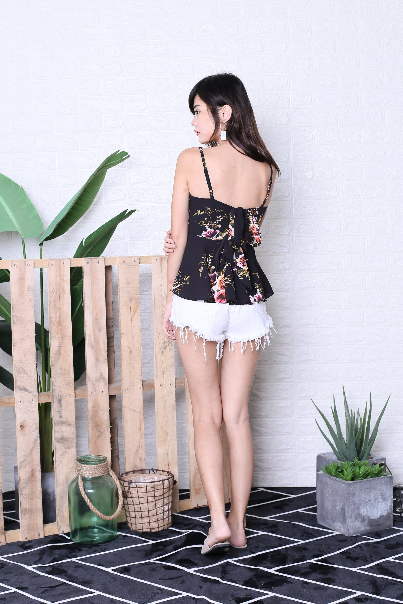 AVA FLORAL DOUBLE RIBBON TOP IN BLACK