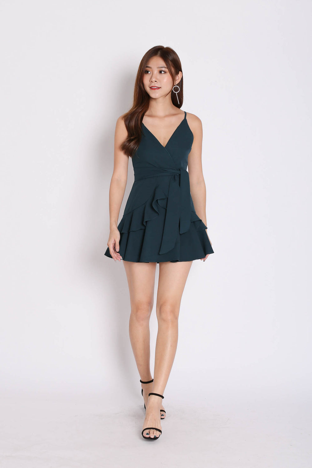 *TPZ* (PREMIUM) SAGE RUFFLES DRESS ROMPER IN FOREST