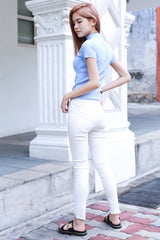 SLIM FIT FRAY JEANS IN WHITE