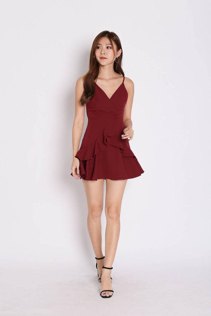 *TPZ* (PREMIUM) SAGE RUFFLES DRESS ROMPER IN BURGUNDY