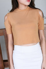 COLD SHOULDER CROP TOP IN MUSTARD