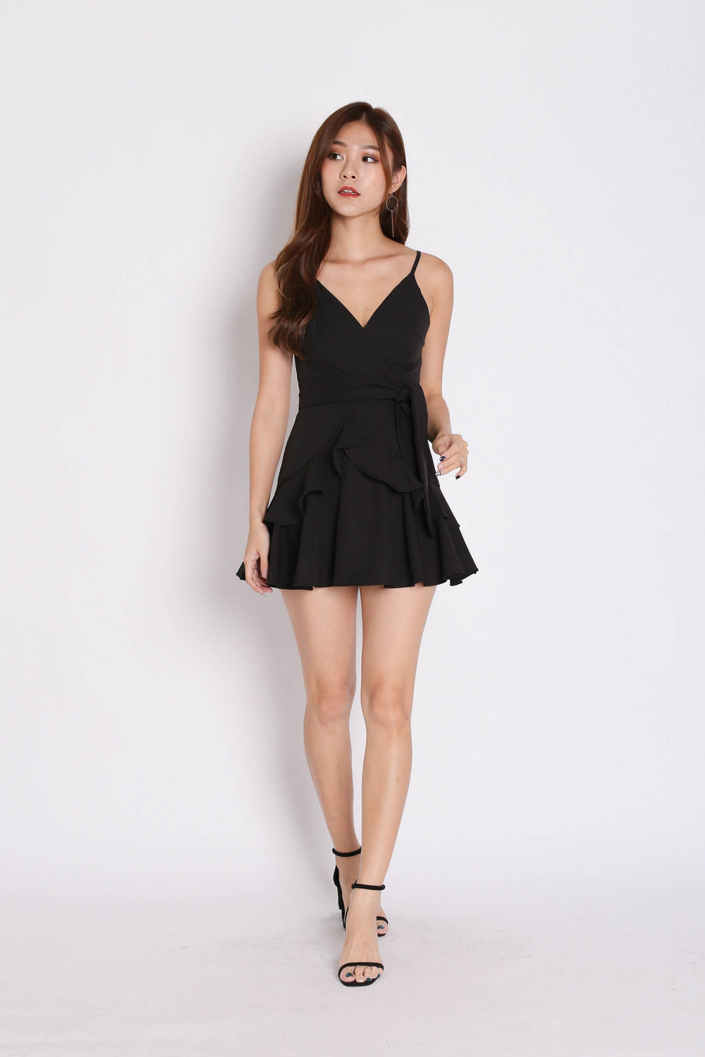 *TPZ* (PREMIUM) SAGE RUFFLES DRESS ROMPER IN BLACK