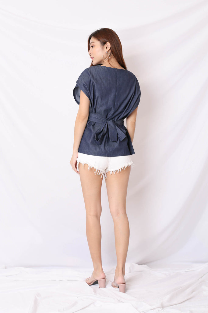 *TPZ* (PREMIUM) DEON BOXY KIMONO TOP IN DARK DENIM
