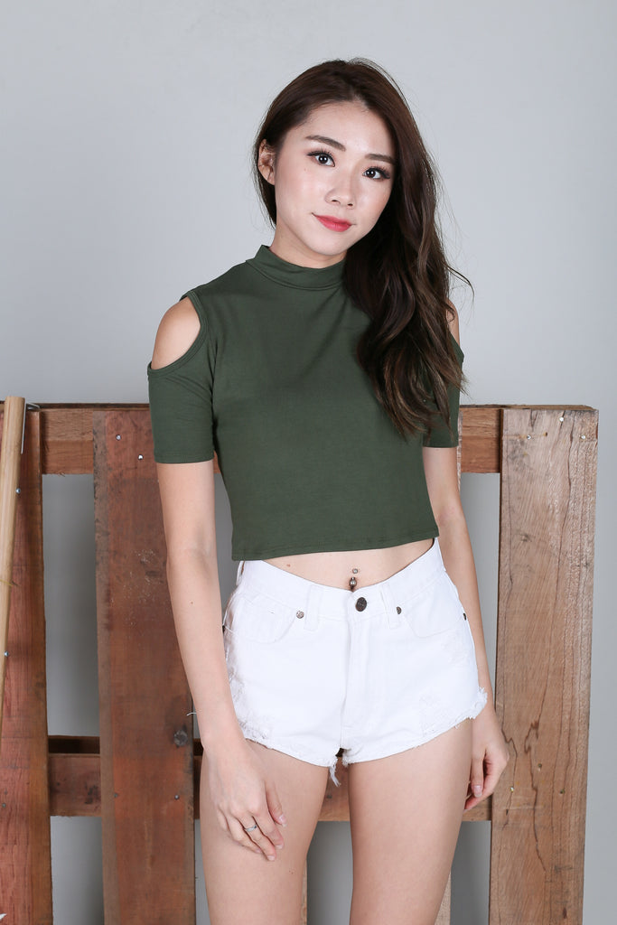 COLD SHOULDER CROP TOP IN ARMY GREEN - TOPAZETTE