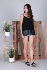 PAIGE CROSS BACK SPAG TOP IN BLACK