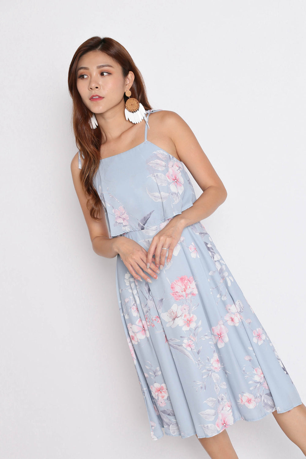 *TPZ* (PREMIUM) CARRIE TIE STRING RIBBON DRESS IN DUSTY BLUE FLORALS
