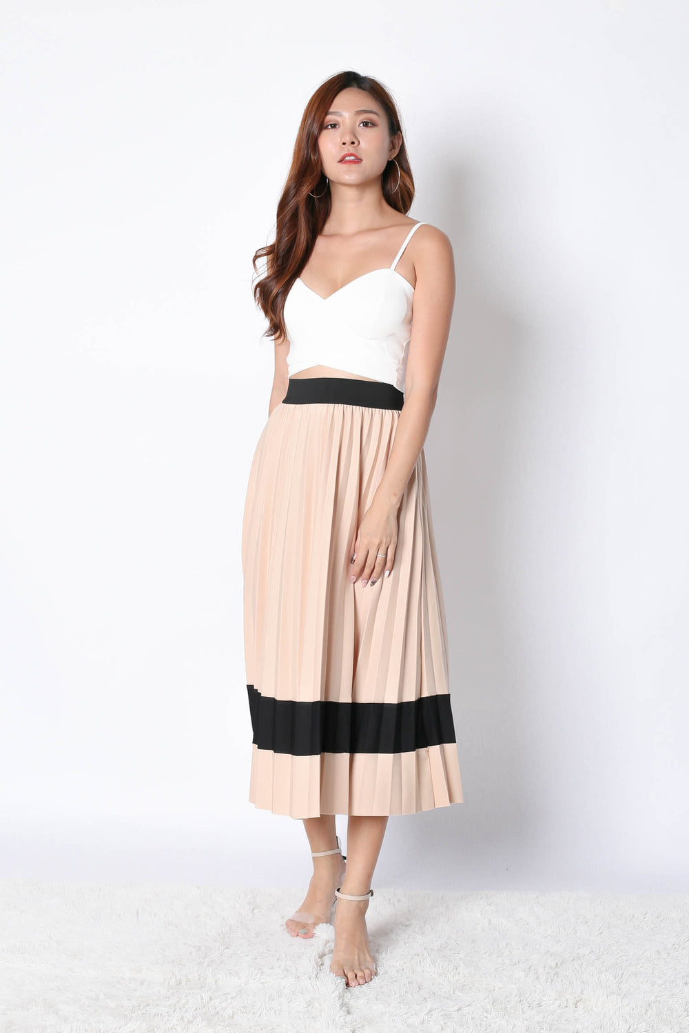 YSO PLEATED COLOURBLOCK SKIRT IN NUDE - TOPAZETTE