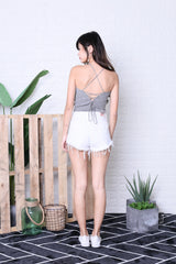 CROSS LACED BACK KNIT TOP IN ASH GREY
