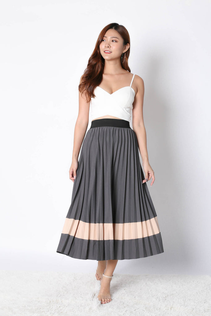 YSO PLEATED COLOURBLOCK SKIRT IN GREY - TOPAZETTE