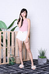 CROSS LACED BACK KNIT TOP IN BABY PINK