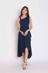 *TPZ* (PREMIUM) GOMEZ ASYMMETRICAL DRESS IN NAVY