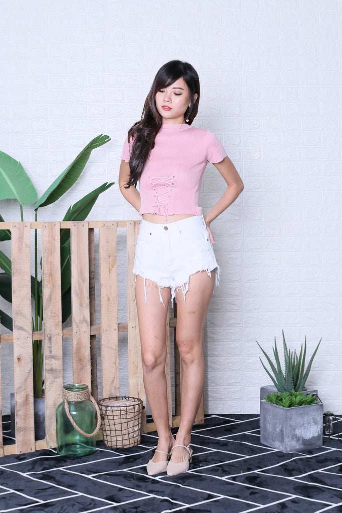JUNCE SLEEVED LACE KNIT TOP IN BABY PINK - TOPAZETTE