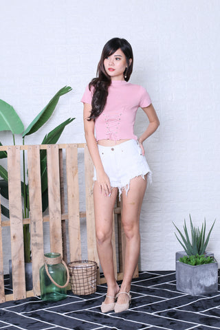 JUNCE SLEEVED LACE KNIT TOP IN BABY PINK